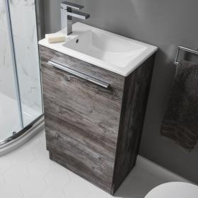 Bauhaus Zion Driftwood 500mm Floorstanding Vanity Unit and Basin