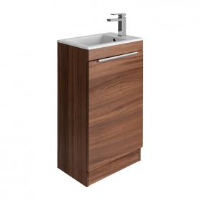 Bauhaus Zion Natural Walnut 500mm Floorstanding Vanity Unit and Basin