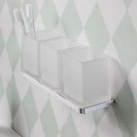 Crosswater Wisp Frosted Glass Tumbler with Triple Wall Holder